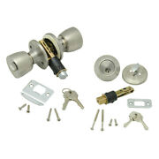 Ap Products 013-234-ss Combo Lock Set With Know Lock And Dead Bolt - Stainless S