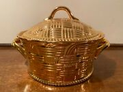Vintage Hall China Golden Glo Encrusted Casserole Baker Dish With Lid