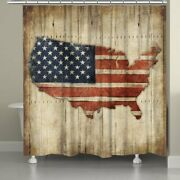 Laural Home Vintage American Flag Shower Curtain Red, Brown, Blue