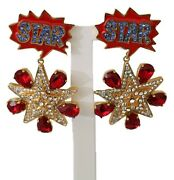Dolce And Gabbana Earrings Gold Brass Red Star Red Clear Crystal Clip-on Dangle