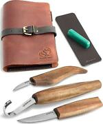 Wood Carving Tools Set For Spoon Carving 3 Knives In Tools Roll Leather Strop