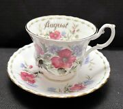 Royal Albert August Poppy Flower Of The Month Tea Cup And Saucer Set