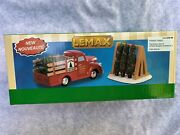 Lemax Christmas Village Accessories Tree Delivery Truck Stand Set Of 2, 93423