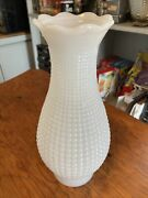 Vintage White Milk Glass Hobnail Hurricane Chimney Oil Lamp Shade Replacement