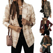 New Womens Double Breast Blazer Jacket Ladies Buttons Checked Coats Workwear