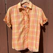 Vintage 60s Levi's Western Wear Pink Plaid Frilled Button Up With Pearl Buttons