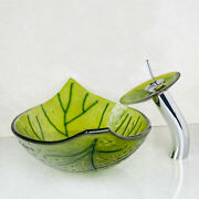 Us Green Leaves Glass Basin Sink Bathroom Faucet Set Waterfall Mixer Water Tap