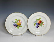 Set Of 6 Meissen Hand Painted Antique Dinner Plates With Fruit Subjects Ca. 1900