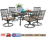 7 Piece Patio Outdoor Dining Sets Swivel Chairs Rectangular Table For 6 Person