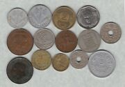 14 Different French Coins 1854k To 1997 In Fine Or Better Condition