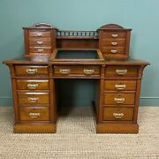 High Quality Victorian Maple And Co Antique Pedestal Desk