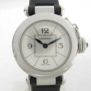 Auth Miss Pasha Wrist Watch W3140025 Stainless Steel Leather Belt Used