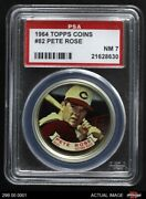 1964 Topps Coins 82 Pete Rose Reds Psa 7 - Nm