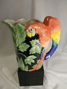 Fitz And Floyd Macaw Parrot Hand Painted Pitcher 1 1/2 Quarts 1986 Displayed Only.