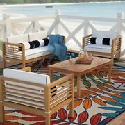 Patio Sofa Set 4pcs Outdoor Furniture With Cushion Coffee Table And Pillows