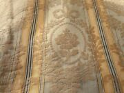 Antique French Roses Garland Stripe Silk Damask Fabric 3 Blue Green Gray Gold