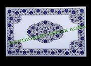 48and039and039x30and039and039 Lapis Mosaic Floral Inlay Art Marble Coffee Table Top Home Decors