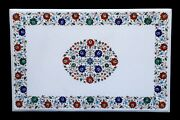 White Marble Dining Table Marquetry Semi Precious Inlay Hallway Center Table