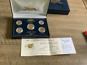 1999 24kt Gold Plated Us 5 Coins Five Penny Dollar Ten Quarter + 1 Free + Coa