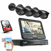 Refurbished Sannce 1080p Hd 4ch 10.1lcd Monitor Dvr Security Camera System 1tb