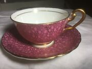 Victoria Bone China Cup And Saucer England.   Pink Chintz