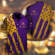 Crown Royal Shirt Short-sleeve Button Summer Party Drinking Lover Gift Men S-5xl