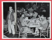 1943 Guard By Italian Officer Pows In Ships Cafeteria 7x9 Original News Photo