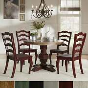 Eleanor Red Round Solid Wood Top 5-piece Dining Set - French