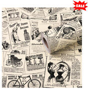 Self-adhesive Shelf Liner Newspaper Drawer Contact Paper Vintage Wallpaper New.