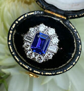 Vintage And Antique Retro Estate Wedding Ring 14k White Gold Over 2.34 Ct Sapphire