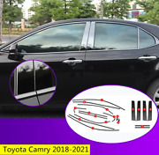 Black Steel Fit For Toyota Camry 2018-2021 Car Window Strip Cover Trim 18pcs