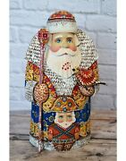 Russian Carved Wood Santa With Nutcracker And Bird
