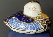 Vintage 1986 Royal Crown Derby Duck Paperweight Fine Bone China With Box Vg
