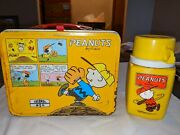 Vintage Peanuts Metal Lunchbox And Thermos, Snoopy Thermos Brand 1965 Orig Cond 8+