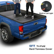 For 16-21 Toyota Tacoma Truck 5ft Short Bed Hard Solid Tri-fold Tonneau Cover