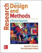 Research Design And Methods A Process Approach By Kenneth Bordens Used
