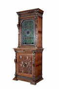 19th Century Flemish Oak And Stain Glass Cabinet