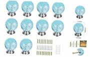 Set Of 10 Aqua Blue Bubbles Glass Crystal Knobs And Pulls Knobs Handles For