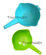 Tupperware 2 Qt And 1 Quart Colander Strainer With Handle Blue Green Classic New