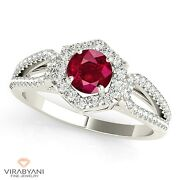 1.35 Ct. Natural Ruby Ring With 0.40 Ctw. Diamond Halo 14k White Gold