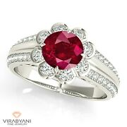 1.35 Ct. Natural Ruby Ring With 0.40 Ctw. Diamond Floral Halo 14k White Gold