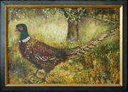 Large 1940's Beautiful Oil Painting Ring-necked Pheasant Signed.