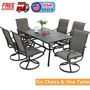 7-piece Outdoor Patio Chairs Table Dining Set Swivel Chair Rectangular Tables