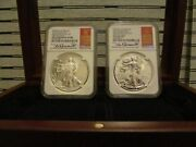 2013-w 1 West Point Silver Eagle Set Ngc Pf70 Rev Pf70 First Releases Pop 7