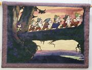 Snow White And Seven Dwarfs Cotton Tapestry With Wooden Rod Disney Store 25 X 33