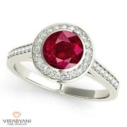 1.35 Ct. Natural Ruby Ring With 0.25 Ctw. Diamond Halo 18k White Gold
