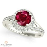 1.35 Ct. Natural Ruby Ring With 0.50 Ctw. Diamond 3 D Halo 18k White Gold
