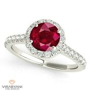 1.35 Ct. Natural Ruby Ring With 0.35 Ctw. Diamond Halo 14k White Gold