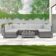 7pc Outdoor Patio Furniture Set Rattan Wicker Sofa Sectional Gray Cushions Table