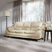 Austin Modern Luxury Comfortable Leather Sofa Ivory Good Condition No Scratch